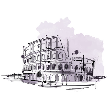 amphitheater: Hand drawn doodle sketch in retro style of the Colosseum, Rome in a travel and tourism concept for advertising and marketing Stock Photo