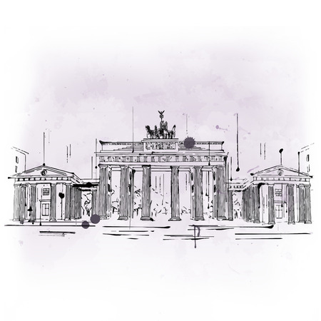 famous painting: Brandenburg Gate, neoclassical triumphal arch and famous tourist attraction from Berlin, Germany, hand-drawn sketch with copy space on gray