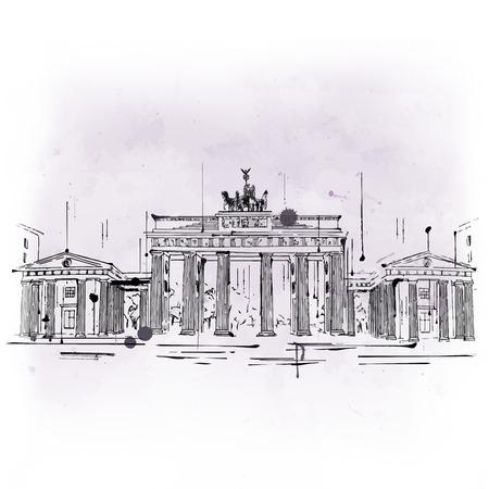 voyage vintage: Porte de Brandebourg, néoclassique arc de triomphe et célèbre attraction touristique de Berlin, Allemagne, croquis dessinés à la main, avec copie espace sur fond gris Banque d'images