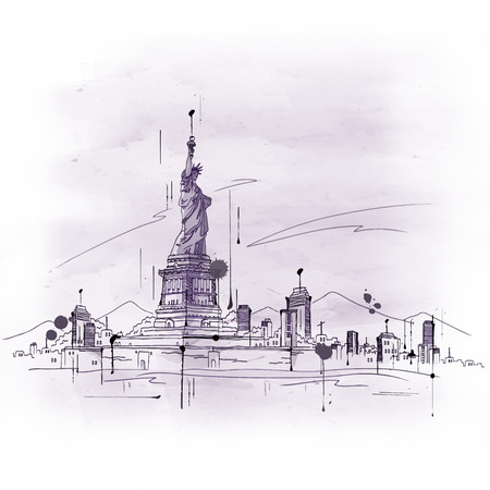 famous painting: Hand drawn doodle sketch of the Statue of Liberty, New York, USA in retro style in a tourism and travel concept Stock Photo