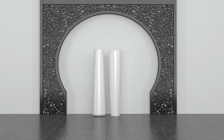 home accents: Two Tall White Vases in Center of Decorative Metal Arch Against White Wall in Room with Dark Floor. 3d Rendering.