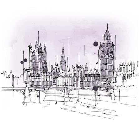 mundo manos: esbozo de estilo vintage de Big Ben y el parlamento Casas, Westminster, Londres, Reino Unido en un concepto de viaje y el turismo de un punto de referencia icónica británica Foto de archivo
