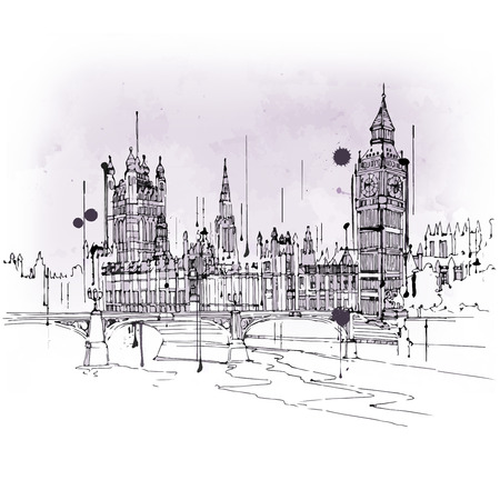 houses of parliament london: Vintage style sketch of Big Ben and the Houses Parliament, Westminster, London, UK in a travel and tourism concept of an iconic British landmark