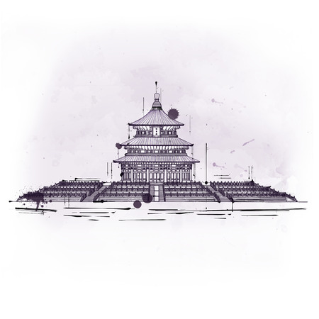 beijing: Temple of Heaven, old Taoist traditional edifice and religious tourist attraction, placed in Beijing, China, hand-drawn sketch with copy space on gray and white