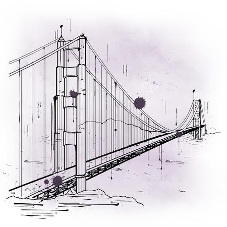 verjas: bosquejo drenado mano del Puente Golden Gate, San Francisco Bay, California, en un icono y una atracción turística