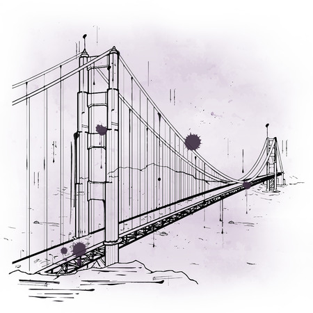 famous painting: hand drawn sketch of the Golden Gate Bridge, San Francisco Bay, California, an iconic landmark and tourist attraction