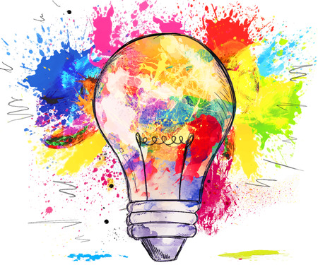 conceptual bulb: Hand-drawn light bulb over bright colorful blots of paint, on white, concept of creativity and innovation