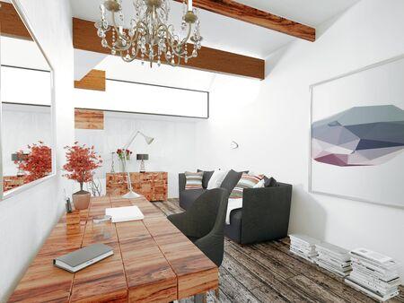 Flottant bureau en bois avec lustre et un mobilier noir dans la maison moderne avec planchers de bois et lumineux murs blancs. Rendu 3D.