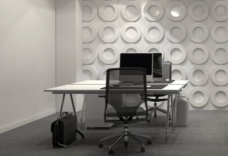 office wall: Modern Office Furnished with Facing Desks, Office Chairs, and Large Computer Monitors, Decorated in Black and White. 3d Rendering.