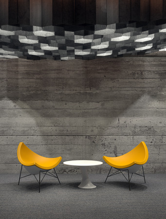 down lights: Panoramic of Contemporary Yellow Chairs Arranged Around Small White Table in Empty Room with Wooden Wall. 3d Rendering.