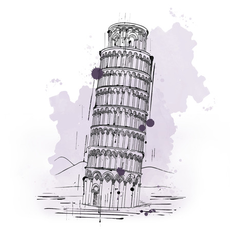 tower of pisa: Hand drawn sketch of the Leaning Tower of Pisa, Pisa, Italy in vintage style, a historical monument and popular tourist attraction Stock Photo