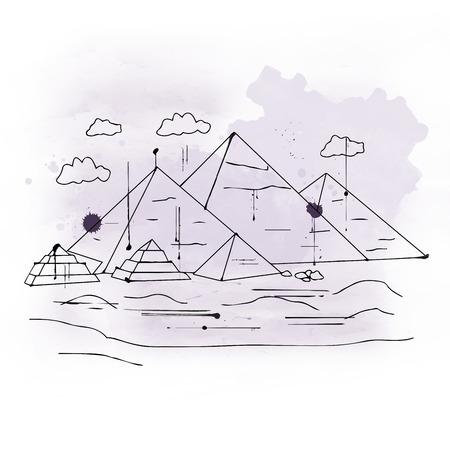 エジプト ・ カイロ郊外のギザ台地の三大ピラミッドの象徴的なピラミッド部分の図
