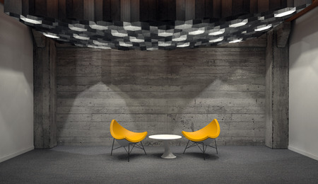 down lights: Contemporary Yellow Chairs Arranged Around Small White Table in Empty Room with Wooden Wall. 3d Rendering. Stock Photo