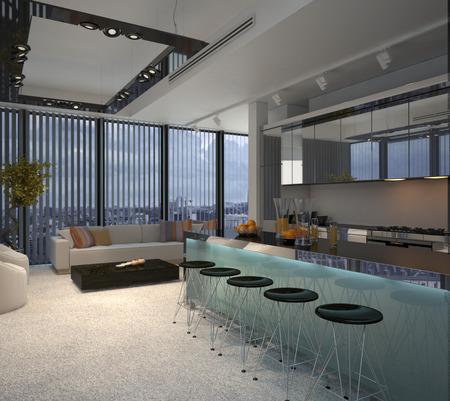Interno Del Moderno Appartamento Condominio, Con Vista Della ...