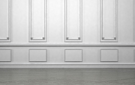 paneling: Empty room interior with classic wainscoting of ornamental white wooden wall paneling in an architectural background