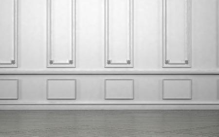 Leerer Raum Interieur mit klassischen Täfelung von Zier weißen Holzwandverkleidung in einem architektonischen Hintergrund