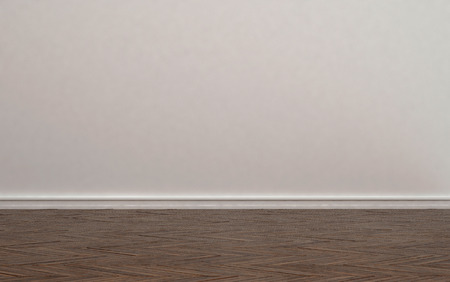 skirting: Home Interior of Empty Room with Plain Undecorated Beige Painted Wall and Light Colored Hard Wood Floor