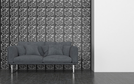 love seat: Grey Love Seat with Cushions in front of Decorative Metal Screen in Contemporary Room with White Walls. 3d Rendering. Stock Photo