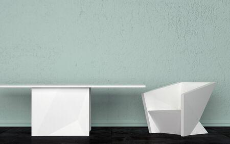 Three Dimensional Kamer Interior Design met witte tafel en stoel tegen lichtgroene Muur.
