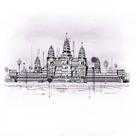 Illustration of Angkor Wat Temple Complex Located in Cambodia, Built in 12th Century it is Largest Religious Monument in the World