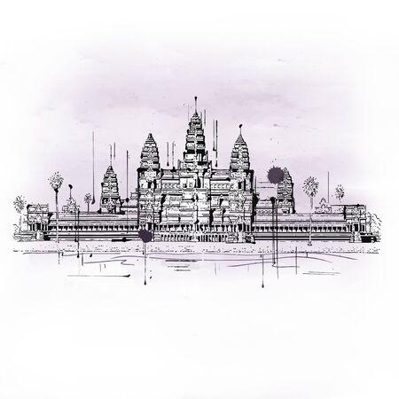 Illustratie van Angkor Wat tempelcomplex gelegen in Cambodja, gebouwd in de 12e eeuw is het grootste religieuze monument ter wereld