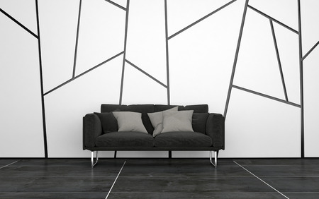 living room design: Dark Grey Sofa with Cushions in Sparsely Decorated Room with Dark Tile Floors and Walls with Geometric Pattern. 3d Rendering. Stock Photo