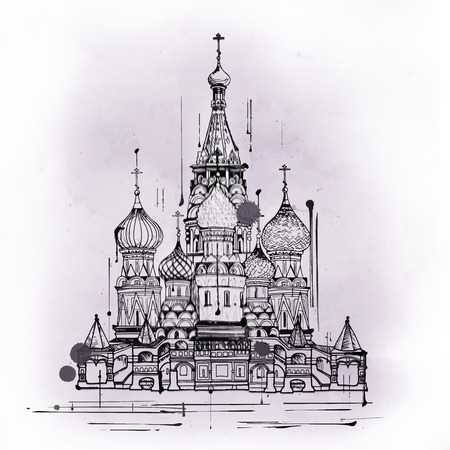 Cathedral of Vasily the Blessed or Saint Basil, Russian Orthodox Christian church and famous tourist attraction from Moscow, Russia, hand-drawn sketch with copy space on gray