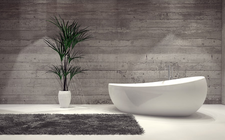 furnished: Boat-shaped contemporary bathtub in a stylish grey bathroom interior with a feature brick wall, rug and potted palm tree. 3d Rendering.