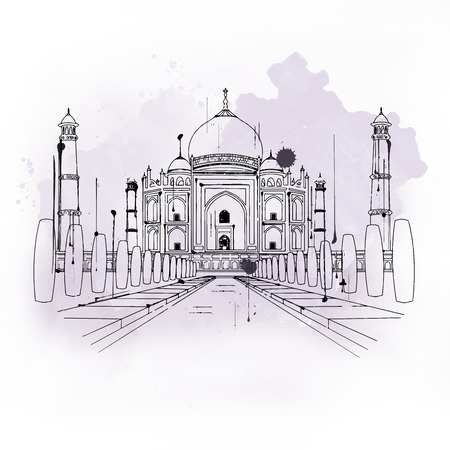 taj mahal: Taj Mahal, white marble mausoleum built in Mughal architectural style and famous tourist attraction considered symbol of Muslim art in India, outline sketch with copy space on gray and white
