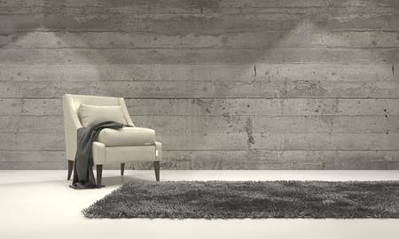 Interior minimalista salón con una decoración monocromática gris y un sillón individual de pie sobre una alfombra delante de una pared de ladrillos de cemento con copyspace. Representación 3d.