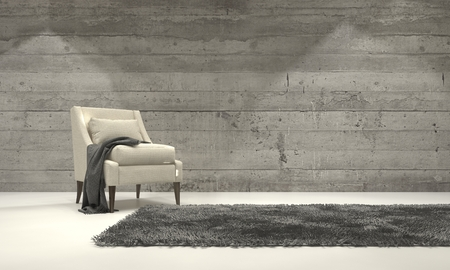 room decoration: Minimalist monochromatic living room interior with grey decor and a single armchair standing on a rug in front of a cement brick wall with copyspace. 3d Rendering.