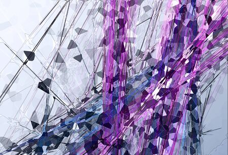 algorithmic: Abstract Fractal Background Artwork in Shades of Gray, Purple and Blue Stock Photo