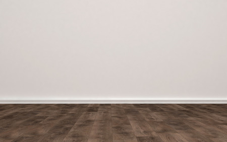 undecorated: Home Interior of Empty Room with Plain Undecorated Beige Painted Wall and Light Colored Hard Wood Floor