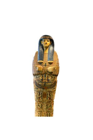 mummy: Egyptian Pharaoh Mummy Coffin Shrine Decorated in Ornate Hieroglyphics Isolated on White Background