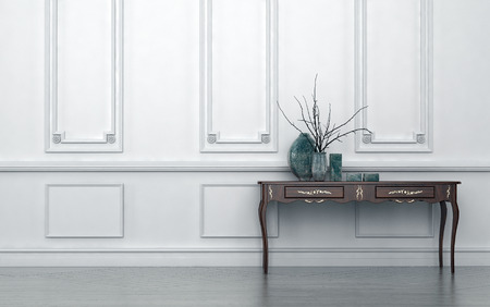 Vintage style console table in a classic living room interior standing against a white wood paneled wall with decorative ceramic vases on top, architectural background with copyspace Archivio Fotografico