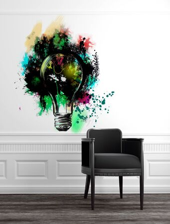 white wood floor: Modern Grey Chair in Upscale Luxury Home with Abstract Artwork of Light Bulb on White Wall with Panelling and Wood Floor