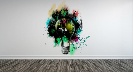 panelling: Abstract Artwork of Light Bulb with Paint Splatter on White Wall with Panelling and Wood Floor in Upscale Luxury Home