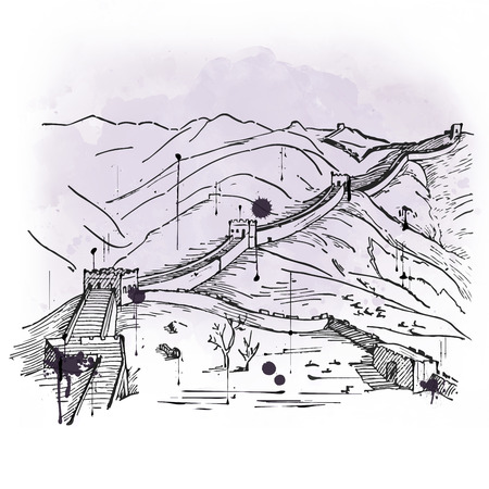 great wall of china: Hand drawn sketch of the Great Wall of China, a fortified wall in Northern China started during the Qin Dynasty as a defense against the Mongols and a popular tourist attraction