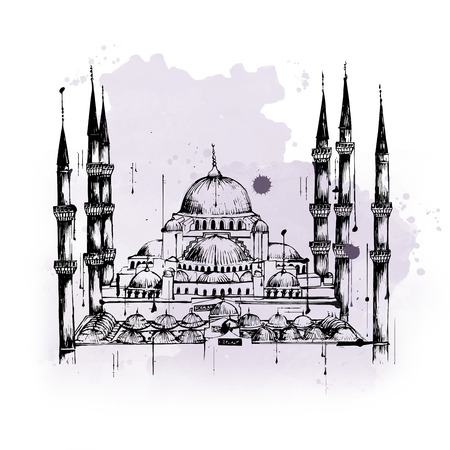 place of worship: Blue or Sultan Ahmed Mosque, tourist attraction and Islamic worship place with one dome and six minarets, in Istanbul, Turkey, hand-drawn sketch with copy space on gray and white