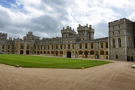 windsor: Central quadrangle and southern wing at Windsor Castle, Berkshire, UK, one of the official residencies of the Monarchy