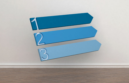 change of direction: Three blank blue blank upward pointing arrows numbered 1 to 3 against an interior wall of a room to signal a change in direction and choice of routes or opportunities, conceptual image. 3d Rendering. Stock Photo
