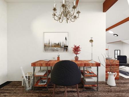 Simple bureau moderne en bois et président noir avec intérieur