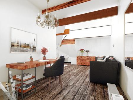 room accents: Ufficio e Sitting Room in Interior of Modern casa con il legno accenti e arredi contemporanei. Rendering 3D.