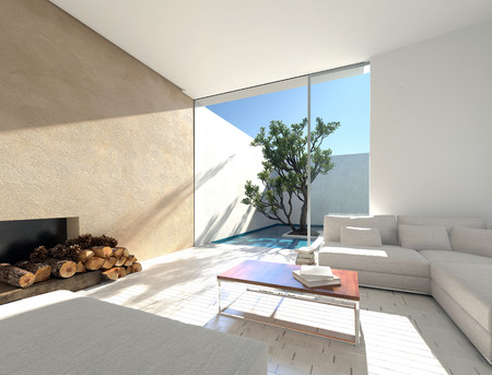 mediterranean interior: Interior decor of a Mediterranean vacation let with a sunny living room with a comfortable modular sofa and logs in front of a fireplace adjacent to an outdoor patio with tropical tree. 3d Rendering.