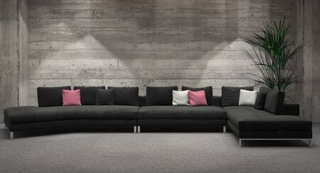 Modern windowless living room interior with a feature grey brick wall and comfortable corner unit lounge suite illuminated by down lights. 3d Rendering.