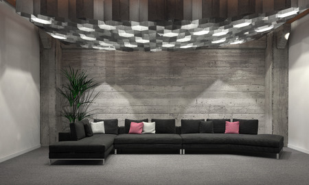 home accents: Cozy windowless living room interior with grey brick walls, a comfortable upholstered lounge suit and large group of overhead hexagonal down lights illuminating the room. 3d Rendering.