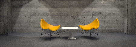 Panoramic of Contemporary Yellow Chairs Arranged Around Small White Table in Empty Room with Wooden Wall. 3d Rendering.