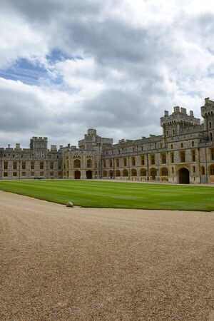 berkshire: Central quadrangle and southern wing at Windsor Castle, Berkshire, UK, one of the official residencies of the Monarchy