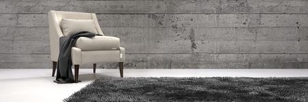Una sedia elegante in un moderno architettonico abitabile All'interno della Casa con moquette sul pavimento e pareti di legno nei Monocromatico stile. Rendering 3D. Archivio Fotografico - 40942990