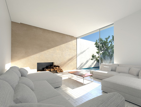Sunny Mediterranean living room with an enclosed outdoor patio and sun filled room with comfortable sofas and a fireplace with logs. 3d Rendering. 스톡 콘텐츠
